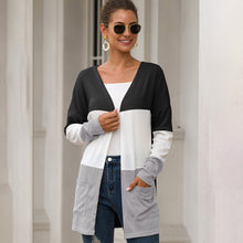 Load image into Gallery viewer, Women Splice Multicolored Coat Cardigan Pocket Autumn Loose Casual Fashion