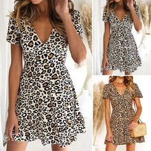 Load image into Gallery viewer, Leopard Printed Deep V-Neck Mini Dress