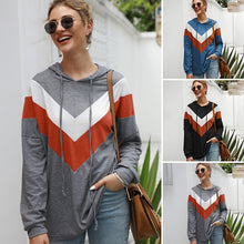 Load image into Gallery viewer, Women Geometric Splice Multicolors Tops Hooded Sweatshirts Drawstring Multicolor