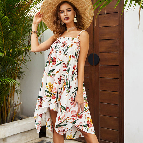 Women Dress Summer Sling Floral Irregular Hem Beach Holiday Sexy Fashion - PRESALE