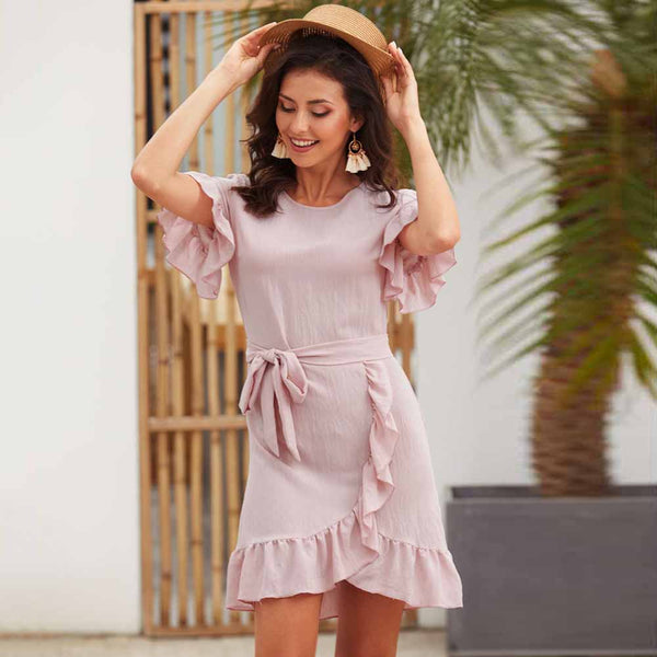Women Summer Ruffled Irregular Hem Lace-Up Short Sleeve A-Line Mini Dress - PRESALE