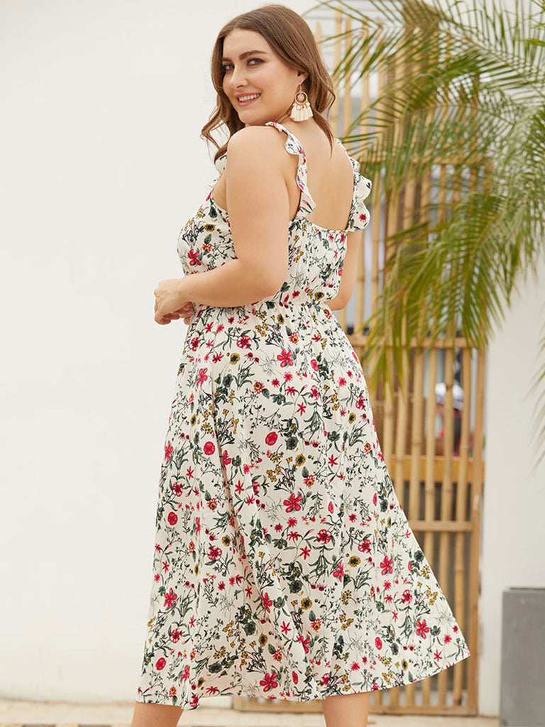 Women\'s Plus Size Floral Dress for Summer - Square Neck, Backless, Beach  Holiday