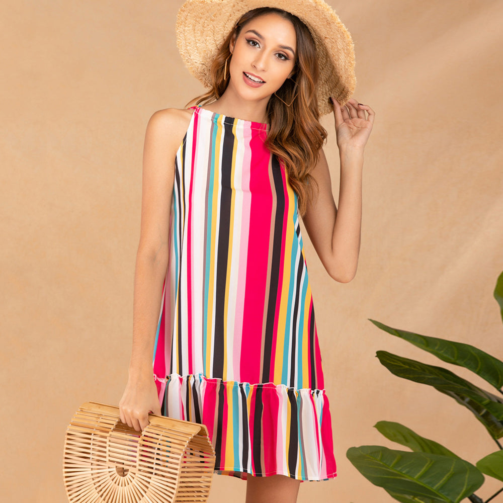Women Mini Dress Summer Sleeveless Rainbow Stripe Multi Colors Fashion