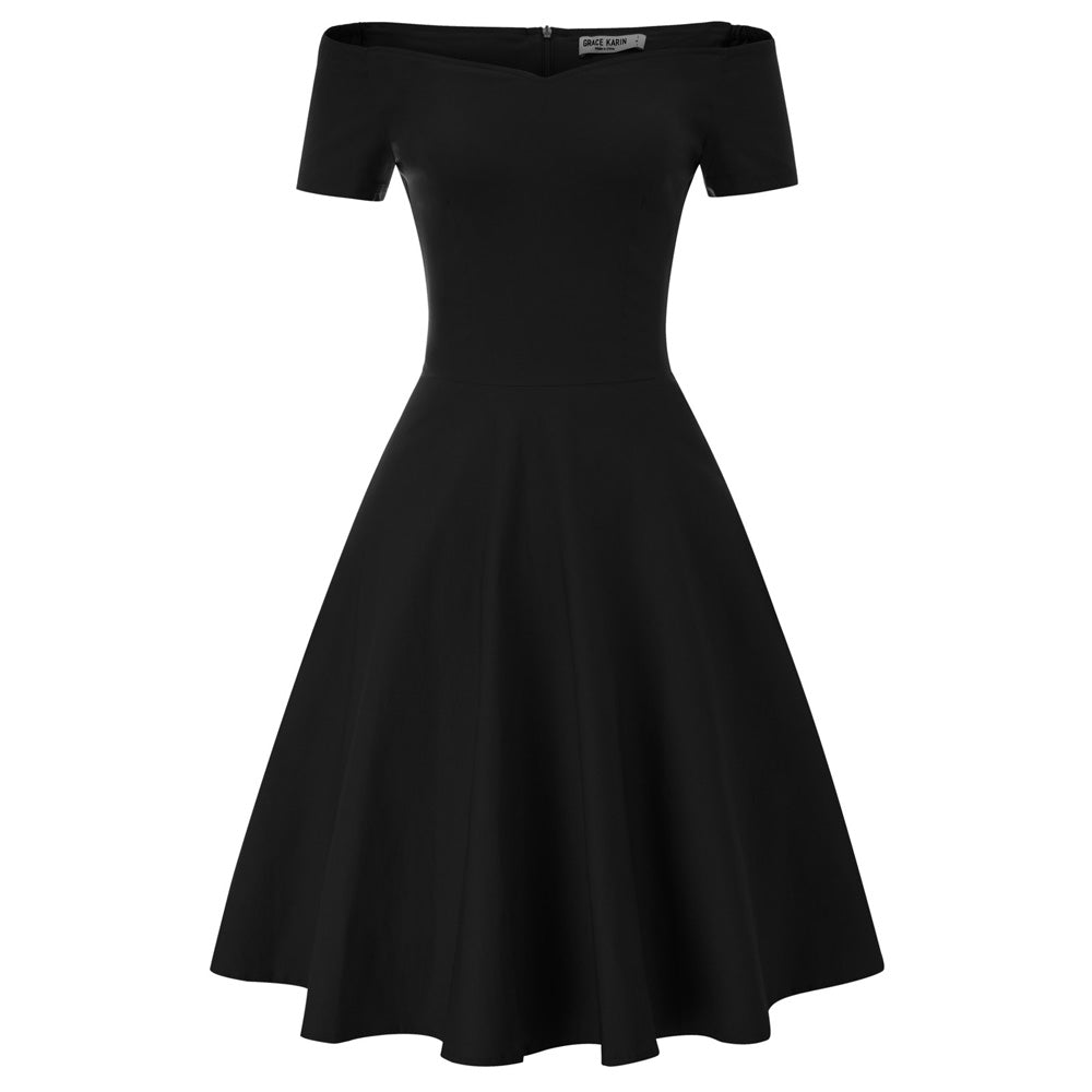 GK Vintage Swing Dress - 1/2 Sleeve, Off Shoulder, V-Neck, Stretchy