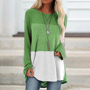 Tri-Color Stitching Round Neck Long-Sleeved Top