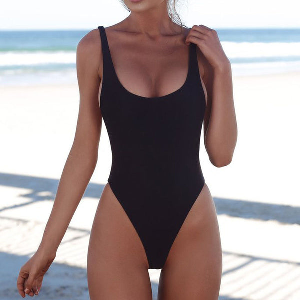 Women's Girl Sexy Padded Bikini Swimwear One-piece Bathing Swimsuit Pure Color - PRESALE