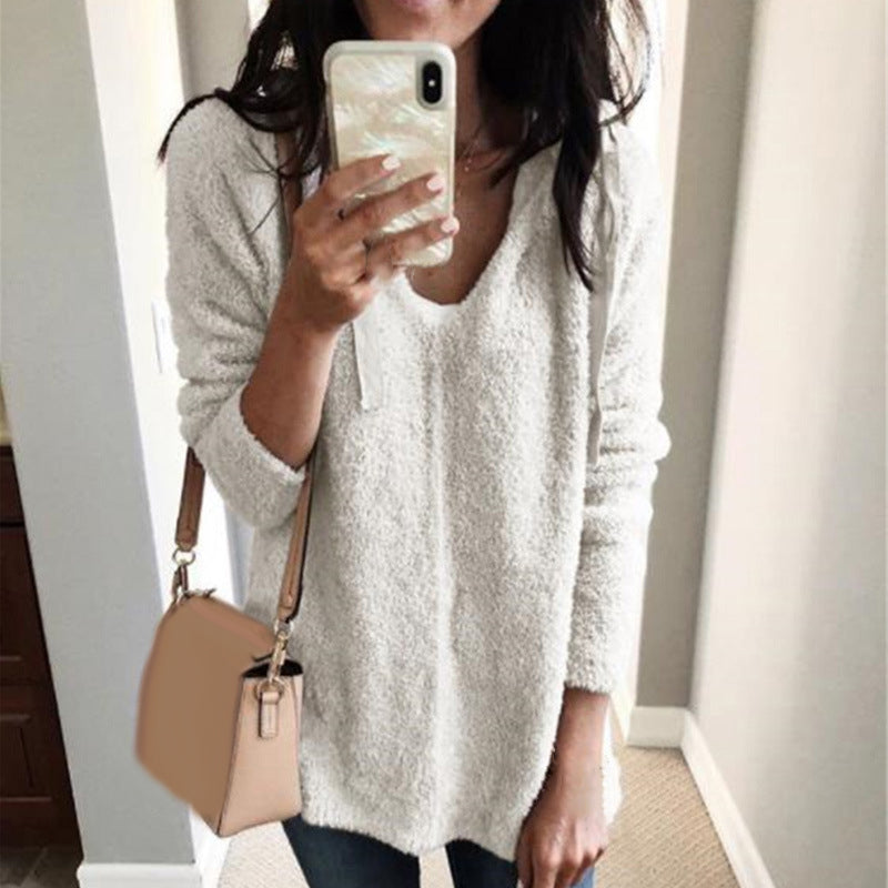 Women's Casual V-Neck Warm Loose Hoodie Tops Fluffy Sweatshirt Coat Plus Size