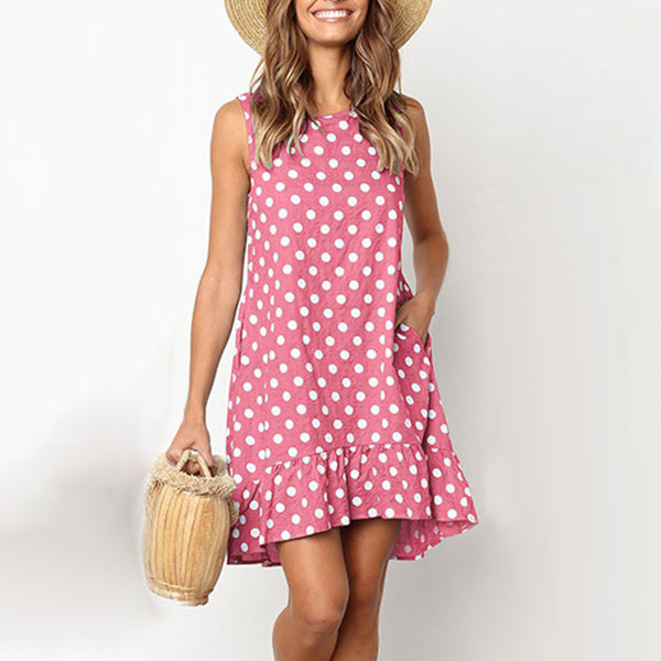2019 Women's Summer Polka Dot Dress - Loose Ruffled and Sleeveless