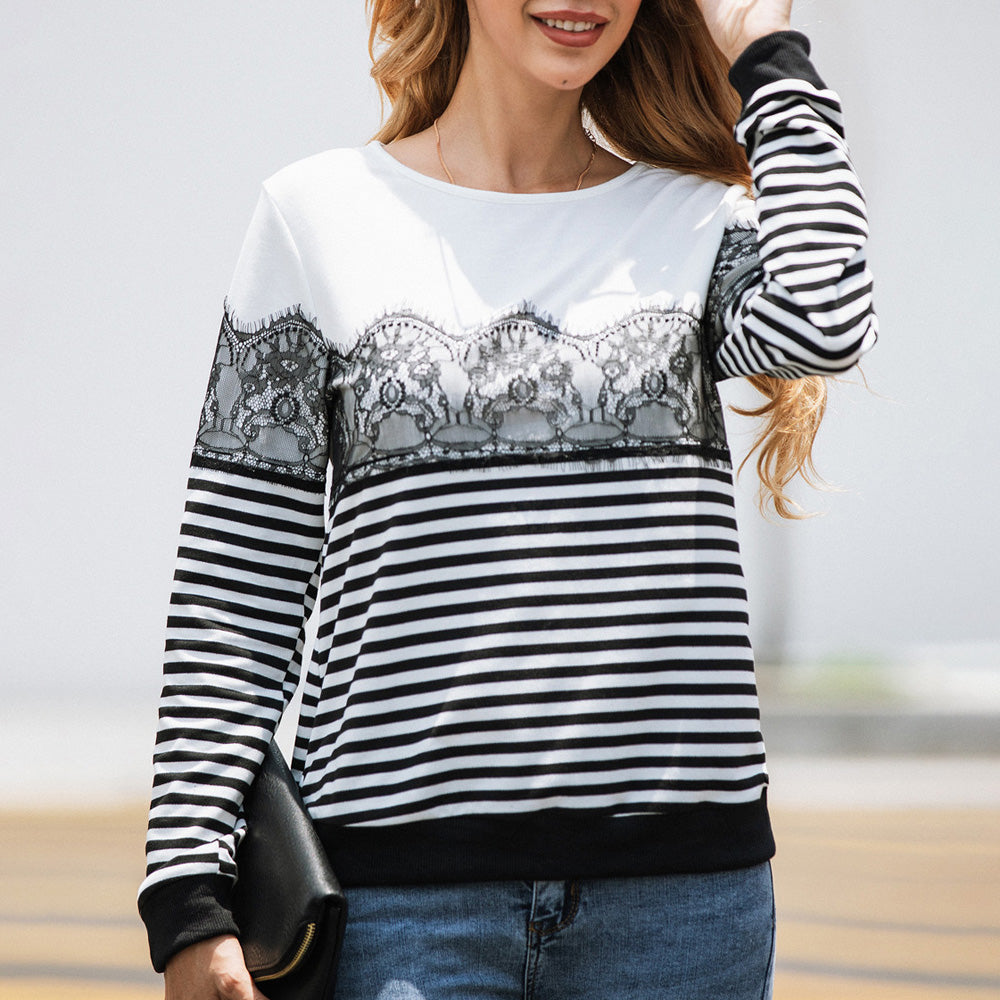 Women's Striped Lace Long Sleeve Tops Blouse Round Neck Casual Sweater