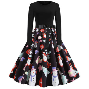 Women Christmas Casual Print Slim Dress Round Neck Large Swing Cocktail Club