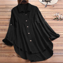 Load image into Gallery viewer, Women's Casual Lapel Long Sleeve Tops Irregular Loose Shirt Single-breasted