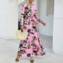 Load image into Gallery viewer, Women's Casual Round Neck Printed Dress Slim Long Sleeve Pocket Ankle-length