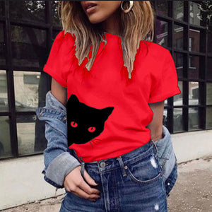 Women's Casual Cat Print Round Neck Slim Short Sleeve T-Shirt Tops Pullover