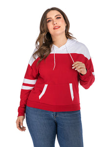 Women's Large Size Stitching Hooded Pocket Sweater Long Sleeve Pullover Tops