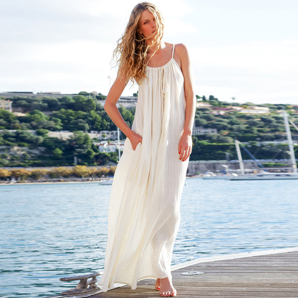 Women Summer Solid Color Sling Loose Boho Beach Fashion Beige Maxi Dress - PRESALE