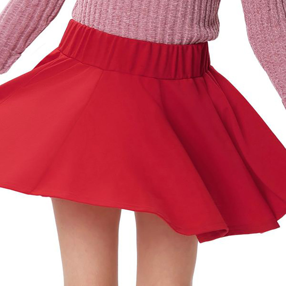 Solid Red and Black High Waisted Flared A-Line Mini Girl's Skirt