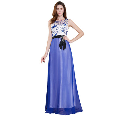 Grace Karin Women's Blue Round Neck Sleeveless Chiffon Satin Tulle Prom Gown Evening Party Dress With Lace Appliques Decorated