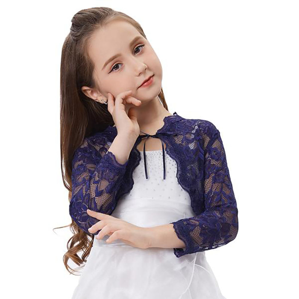 Children Navy Blue and White 3/4 Sleeve Open Front Floral Lace Shrug Bolero