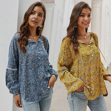 Load image into Gallery viewer, Women Button Floral Lace-Up Tops Blouse Long Sleeve Vintage Loose Casual