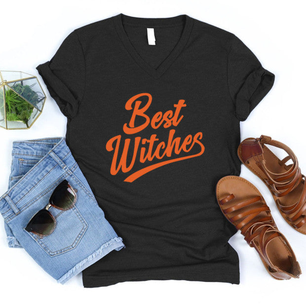 Happy Halloween Best Witches Print V-Ausschnitt Kurzarm T-Shirts Tops