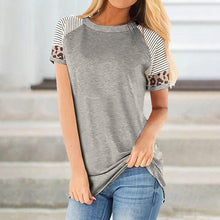 Load image into Gallery viewer, Striped Leopard Print Panel Short Sleeved T-shirt