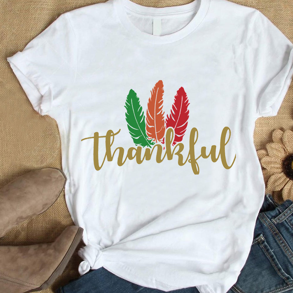 Thanksgiving Day  Thankful Printing Round Neck Short Sleeve T-Shirt