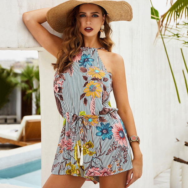 Women Mini Jumpsuit Summer Lace-Up Floral Hollow Halter Fashion Beach Holiday