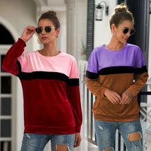 Load image into Gallery viewer, Women Tops Pullover New Round Neck Long Sleeve Three-Color Fashion Loose