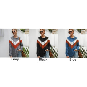 Women Geometric Splice Multicolors Tops Hooded Sweatshirts Drawstring Multicolor