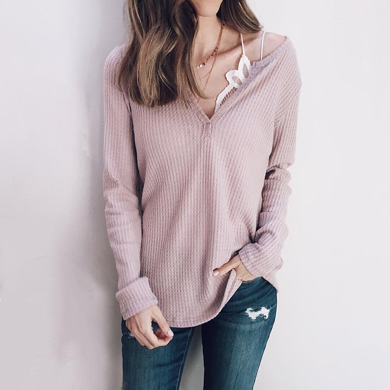 Solid Color Check Fashion V-Neck Top