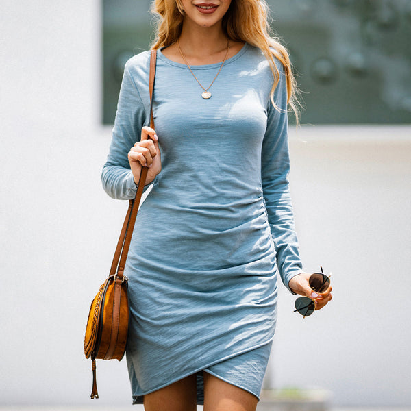 Women Sexy Hip Wrap Pleated Mini Dress Irregular Long Sleeve Round Neck