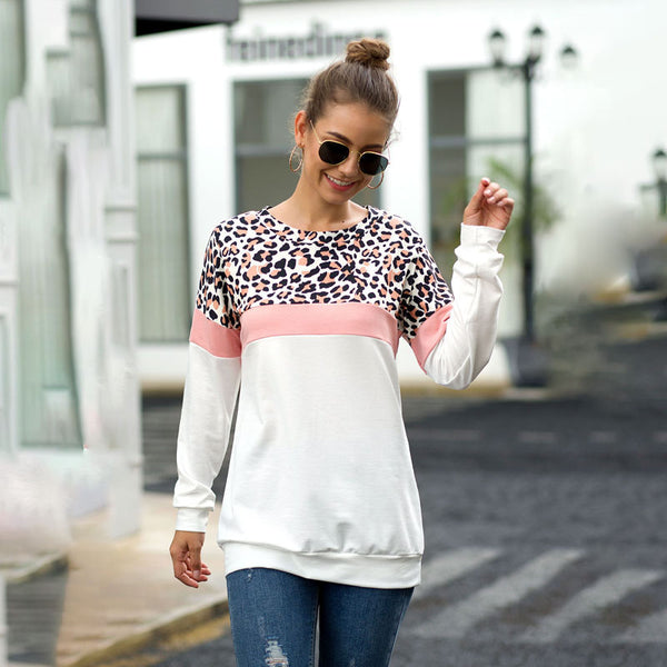 Women Tops Pullover Round Neck Long Sleeve Leopard Camouflage Splice Fashion