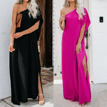 Load image into Gallery viewer, Women's Summer Maxi Dress - Loose Split, Irregular type, One Shoulder and Solid Color