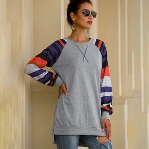 Women Splice Stripe T-Shirts Tops Long Raglan Sleeve Round Neck Casual