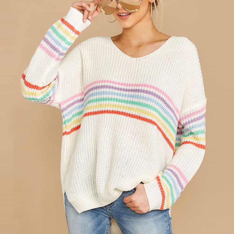 Femmes Pulls Pull Neuf col V manches longues Rainbow Stripe Mode décontractée