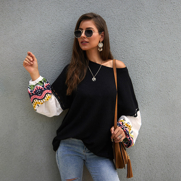 Women Sweaters Pullover New Embroidery Splice Hollow Long Sleeve Multi-Colors - PRESALE