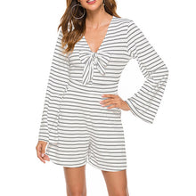 Load image into Gallery viewer, Women's Casual Sexy Striped V-Neck Mini Jumpsuit  Slim Long Bell Sleeve Bowknot