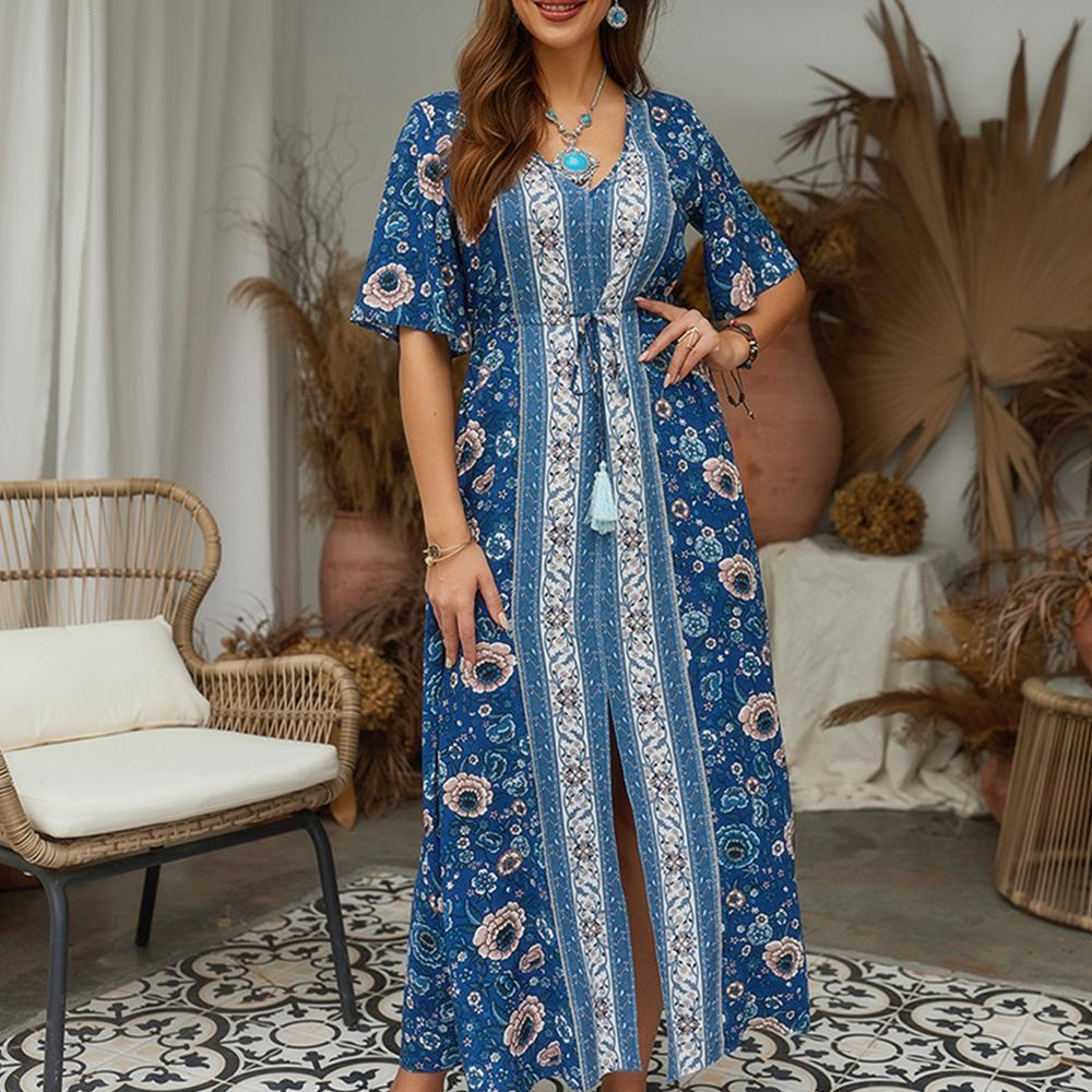 Women Summer V-Neck Half Sleeve Floral Split Blue Fashion Elegant Long Dress