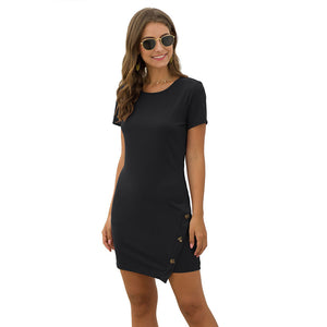 Women's Casual Solid Color Round Neck Pullover Dress Button Decor Short Sleeve
