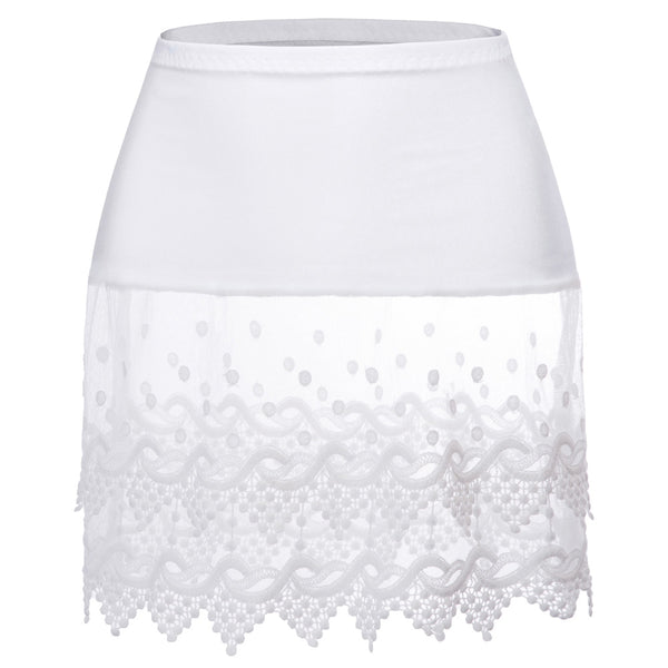 GK Women's Sheer Lace Trim Rayon Tops Extender Half Slip Mini Skirt