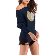 Load image into Gallery viewer, Women's Casual Round Neck Slim Print Sweater Long Sleeve Knitwear Pullover