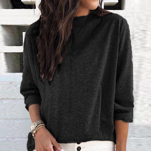 Solid Color Casual Wild Long Sleeved Top