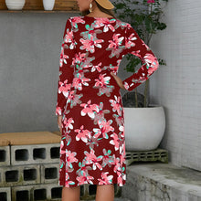 Load image into Gallery viewer, Women's Sexy V-Neck Floral Mini Dress Slim Split Long Sleeve Beach Party