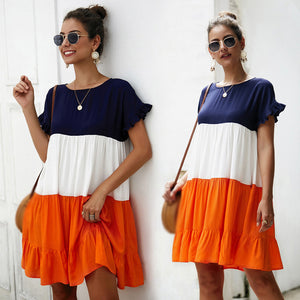 Women Above-Knee Dress A-Line Summer Stripe Pleated Three-Color Short Sleeve