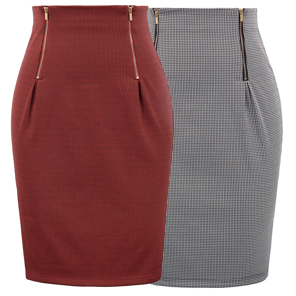 GK Women's Swallow Gird Pattern High Waist Hips-Wrapped Bodycon Pencil Skirt