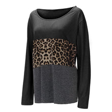 Load image into Gallery viewer, Leopard Printed Splicing O-Neck Blouse