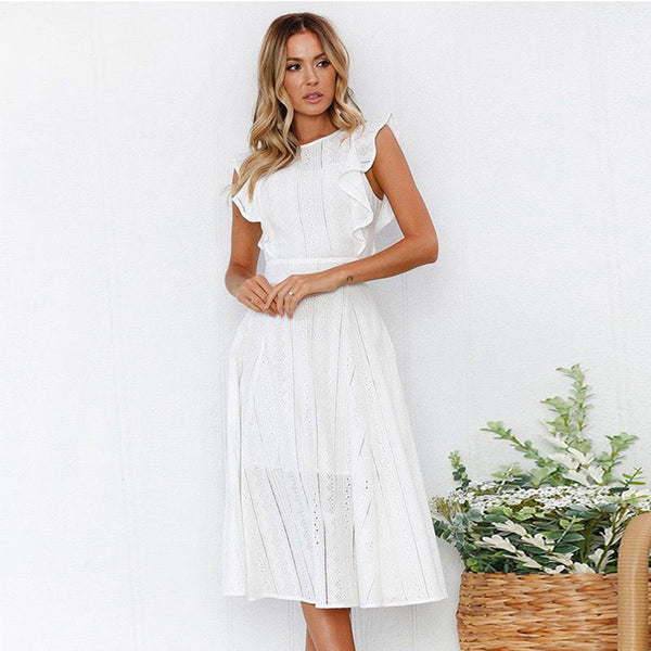 Women Dress Round Neck Sleeveless Ruffled Lace Hollow Irregular Fashion Elegant
