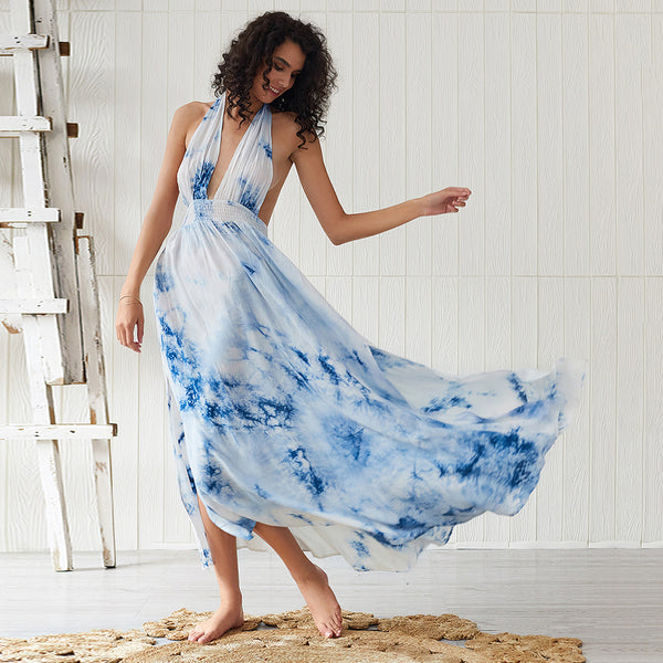 Women Summer Floral Blue Split Boho Sexy Backless Halter Fashion Maxi Dress