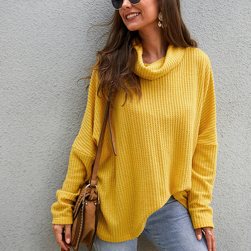 Women Tops Sweaters Pullover New Rolled Neck Long Sleeve Split Fashion Loose