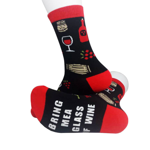 Mens Womens Letter OF WINE Cotton Socks